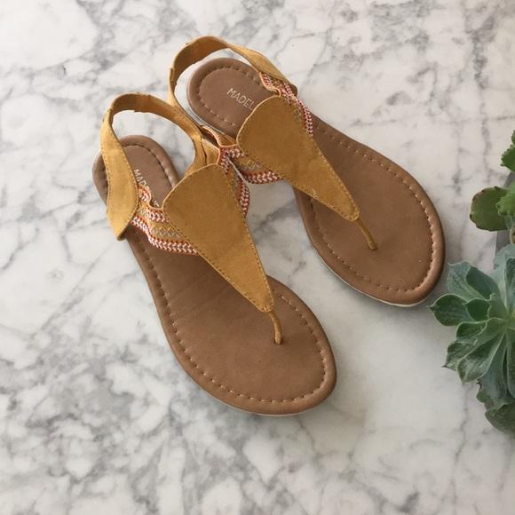 Madeline Stuart Shoes - Mustard tribal print sandals